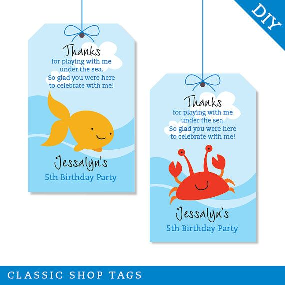 Under the Sea party - Personalized DIY printable favor tags. I'd like to make my own.
