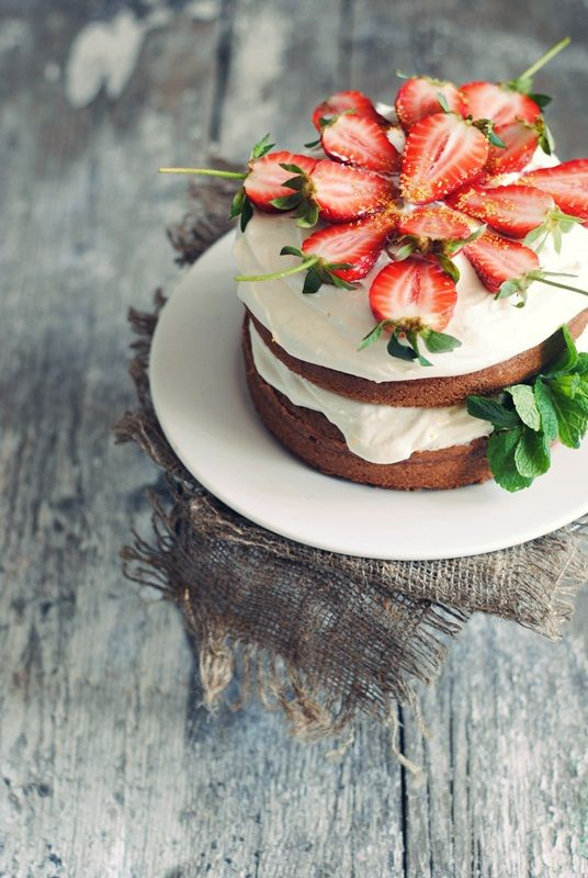 homemade cake with strawberries