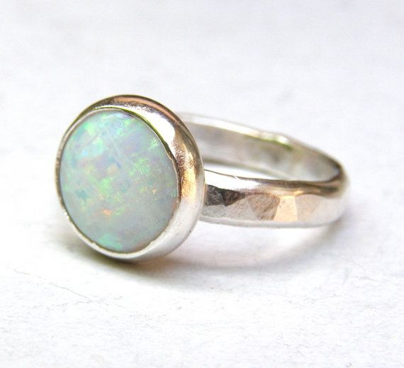 White Opal ring Fine Statement ring Silver ring, Gift for teacher . Stacking ring,Gemstone - Recycled silver sterling ring Made to order on Etsy, $70.00