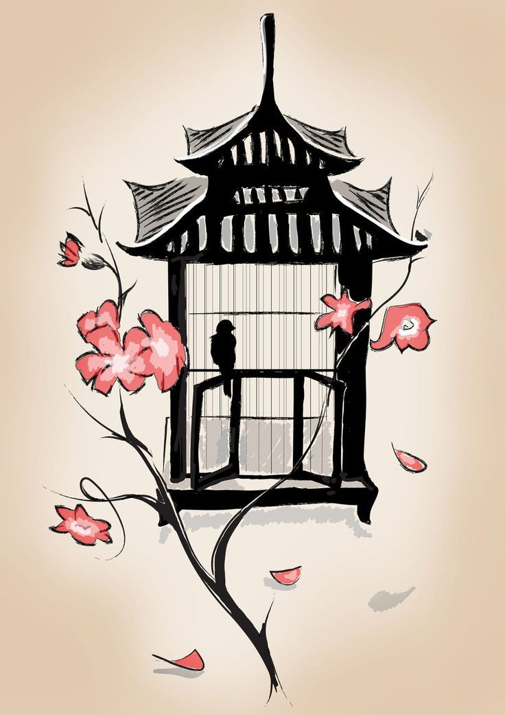 pagoda style birdcage with cherry blossoms japanese tattoo art flash inspiration attic lilla. Black Bedroom Furniture Sets. Home Design Ideas