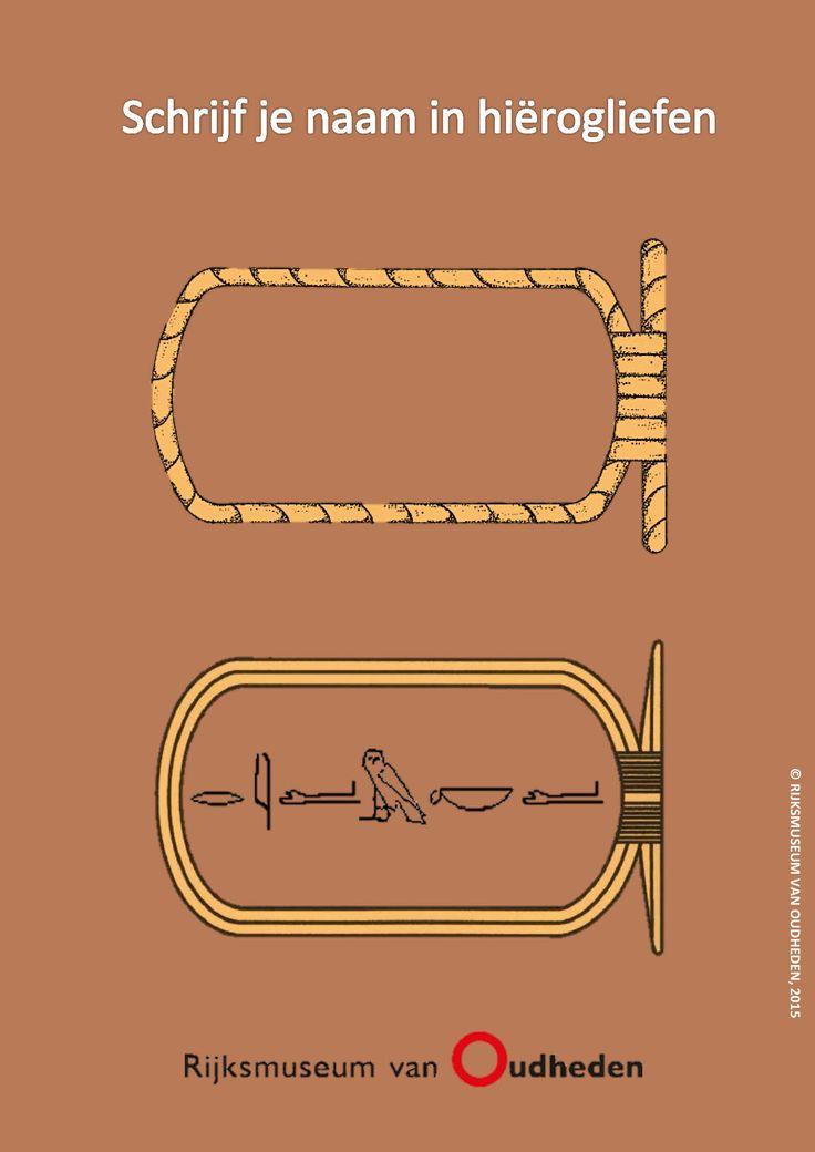 Schrijf je naam in hiërogliefen, net als in het oude Egypte. Leuk voor thuis of voor in de klas! Klik op de afbeelding om de naambordjes en het bijbehorende hiërogliefenschrift te downloaden.