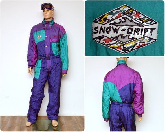 87a0497c54 rad 80s neon SKI SUIT by Snow Drift   onesie all in one overall onepiece    mens size Eur 52 L large   skiwear ski clothing jumpsuit snowsuit