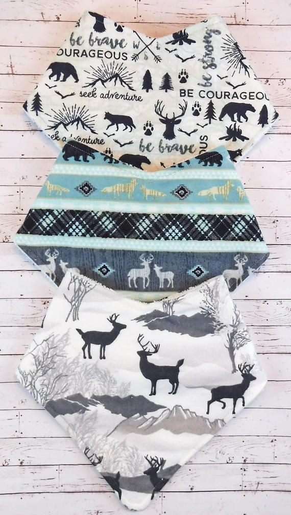 Woodland Adventure Bandana Bib Bundle Baby Boy. Seek Adventure. Be Brave. Be Courageous. A perfect baby shower gift or a treat for your own little adventurer.