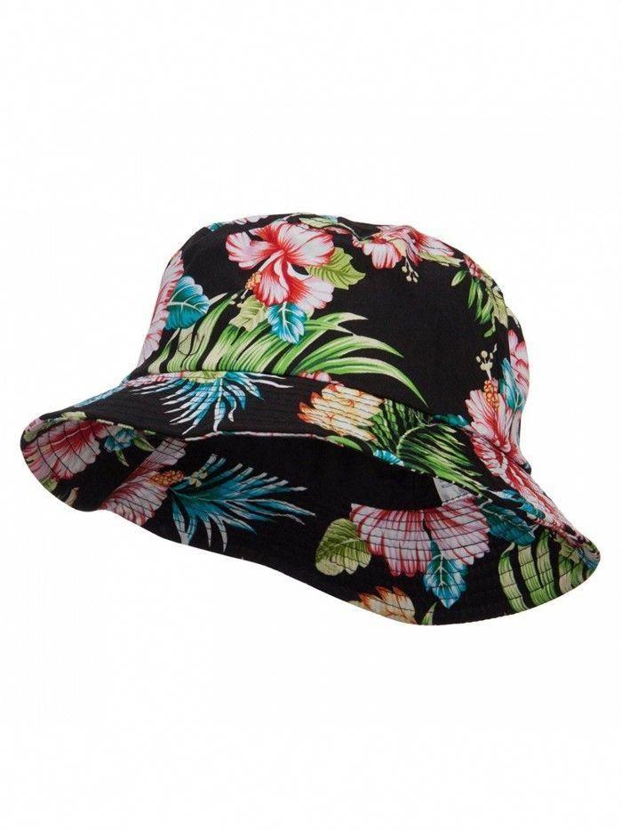 f13beab4307c5 Floral Cotton Bucket Hat - Black - C6124YGZLE7 - Hats   Caps ...