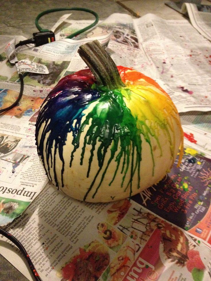 Melted crayon pumpkin pumpkins pinterest