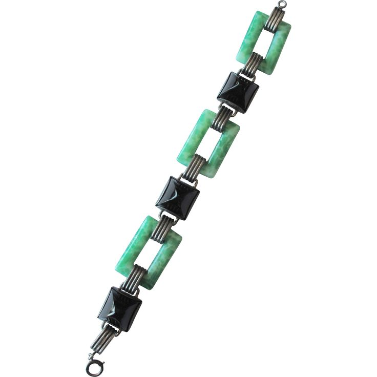 #3850  Art Deco Peking Glass Black Onyx Geometric Bracelet 1920  Exclusively at Lee Caplan Vintage Collection  on RubyLane