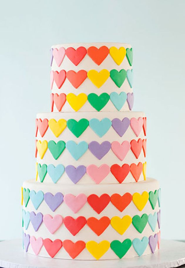 rainbow hearts on your cake!