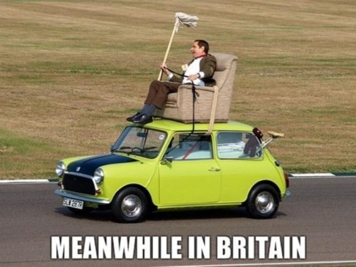 Mr Bean!!  i was just trying to describe this scene to my students last week!!