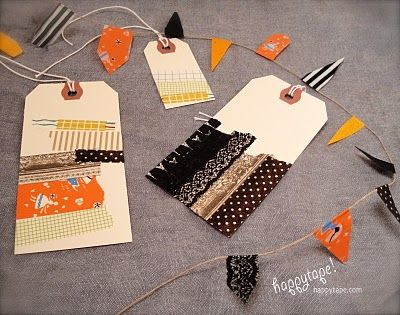 washi: Halloween Parties, Crafts Ideas, Washi Tape Laptops, Washi Tape Doors, Happytap Halloween, Halloween Tags, Parties Projects, Gifts Tags, Birthday Gifts