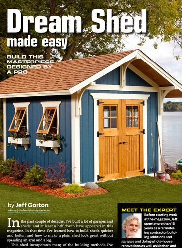 Dream garden shed, Mission bungalow style. http://www.familyhandyman.com/sheds/dream-shed-made-easy/view-all