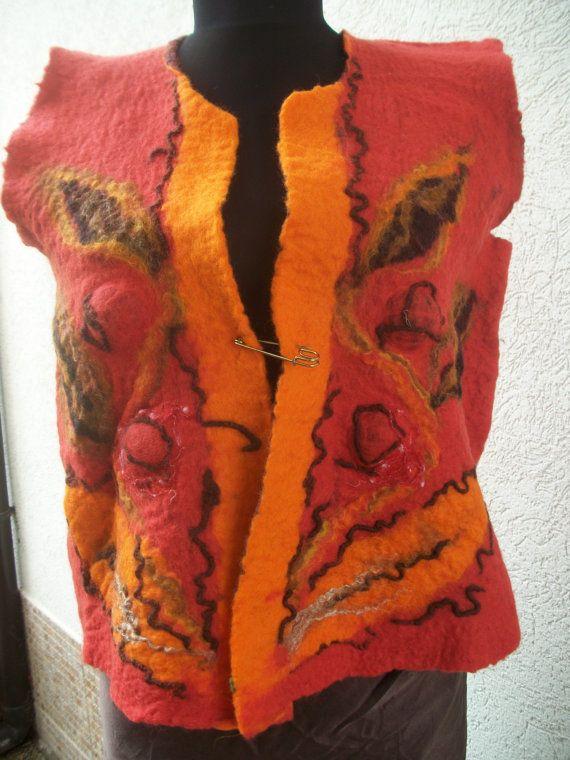 Felted short vest warm and elegant by FeltWorld51 on Etsy, $78.00