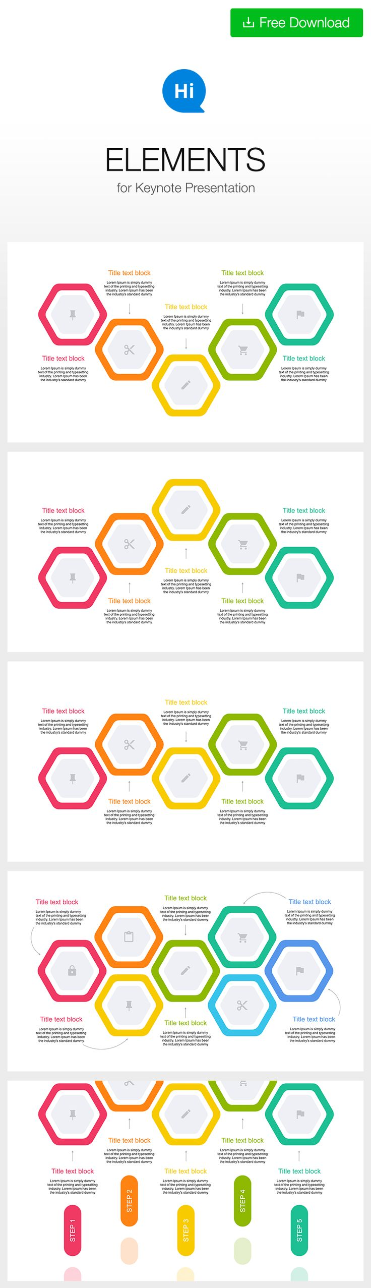 #Polygon #hexagon #keynote #infographic #free #download https://hislide.io/product/5-step-creative-color-diagram-key/ #timeline