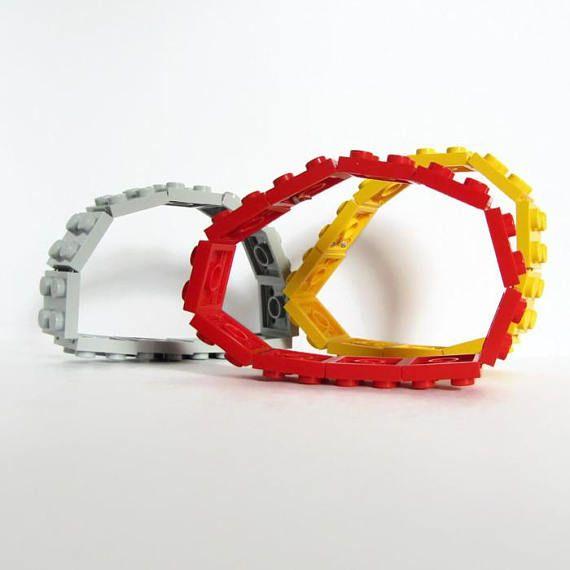Handmade Monochrome Bracelets made from LEGO bricks on Etsy