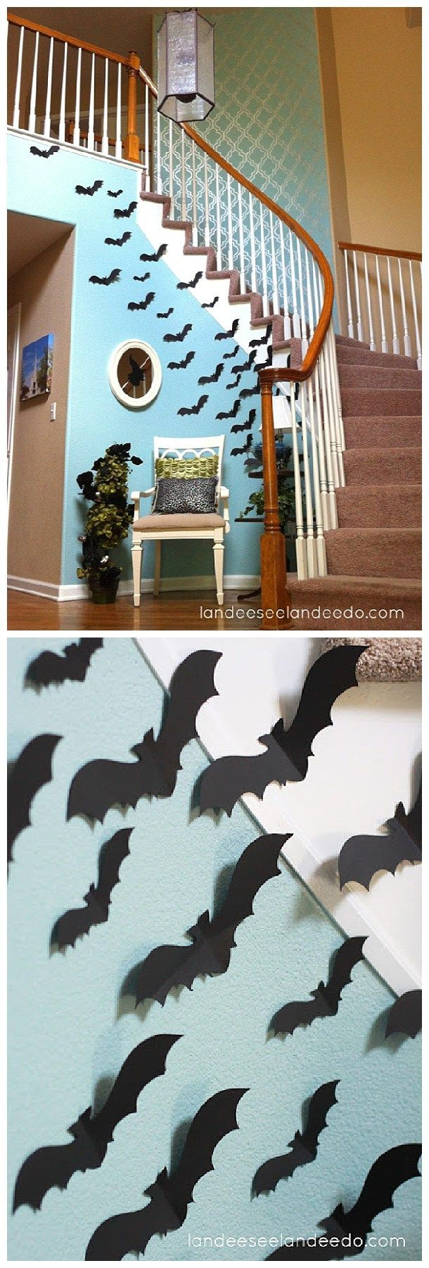This is a fun idea for your entryway or front porch! Create a wall of BATS for your spooktacular Halloween Party lair!