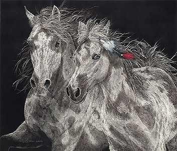 The Resisters - Judy Larson - World-Wide-Art.com - $305.00 #JudyLarson #Horses
