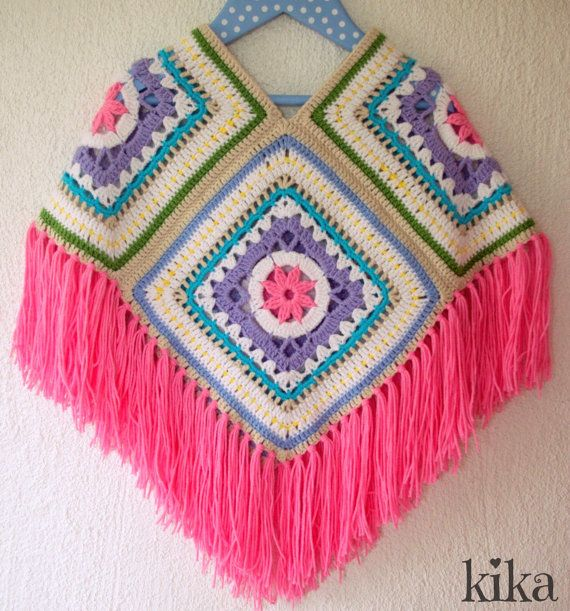 crochet poncho for girls, colorful poncho, crochet toddler poncho, granny square poncho