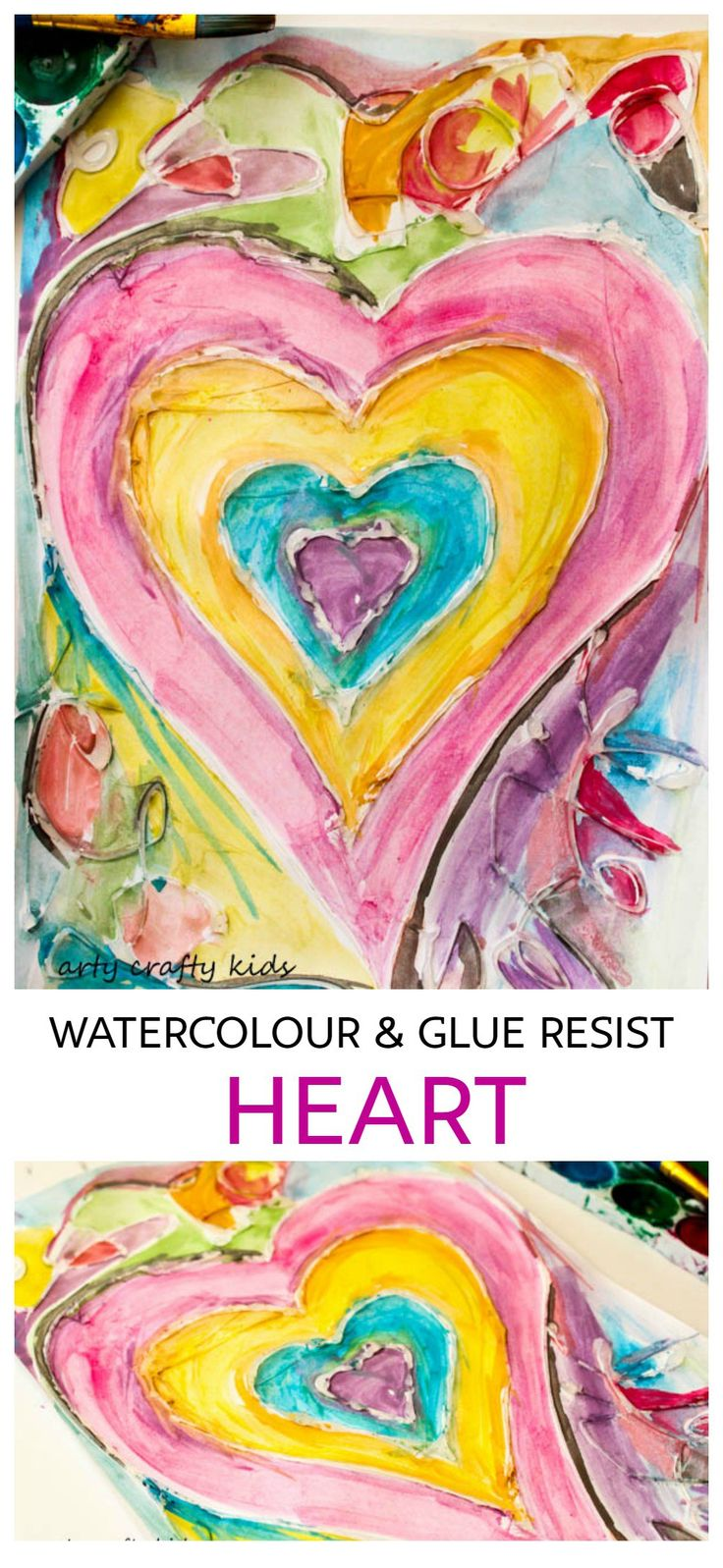 Arty Crafty Kids   Art   Watercolour and Glue Resist Heart Painting   Valentine's   Watercolour and Glue Heart Painting for Kids   A beautiful, unique and easy Heart art project for kids that's perfect for Valentine's Day.