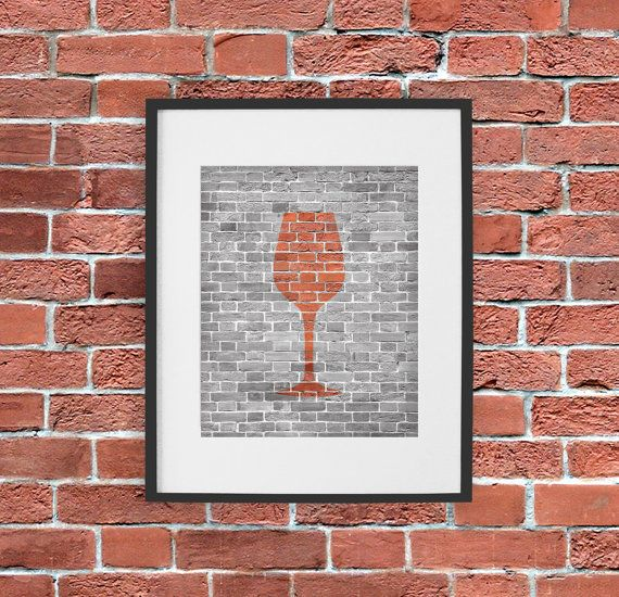 Wine art print dining room modern brick in black white for Red dining room wall art
