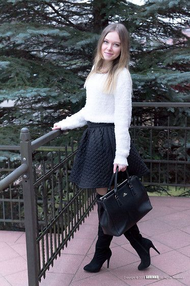 Get this look: http://lb.nu/look/7099220  More looks by Kristina K-ak: http://lb.nu/kristifashion  Items in this look:  H&M Sweater, Mosquito Skirt, Wittchen Bag   #bag #skirt #mosquito #wittchen #white #black #boots #heels #necklace