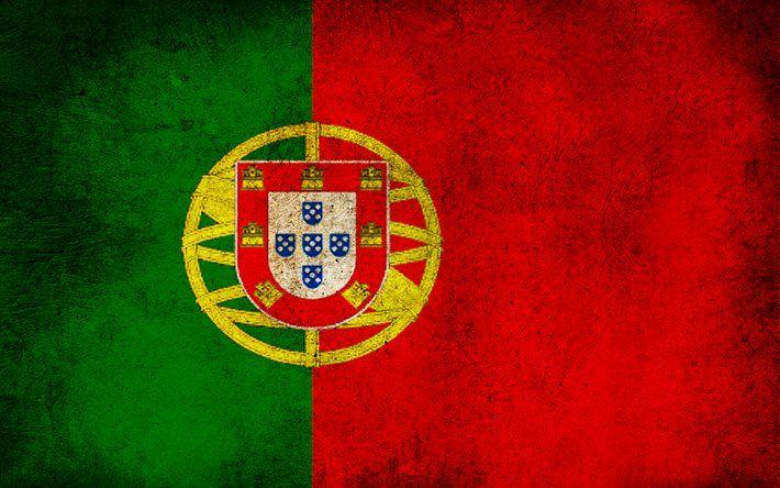 Portugal flag, grunge, Portugal, Portuguese flag