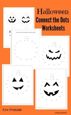 Unisci i puntini tema Halloween - Free printable Halloween Jack O Lantern connect the dots worksheets…
