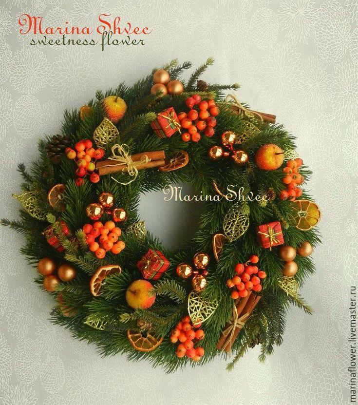 """Купить Новогодний венок """"Пряный Новый Год!"""" - оранжевый, новогодний венок, венок новогодний"""