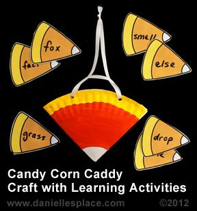 Candy Corn Craft - Candy Corn Caddy Craft with Learning Activities www.daniellesplace.com