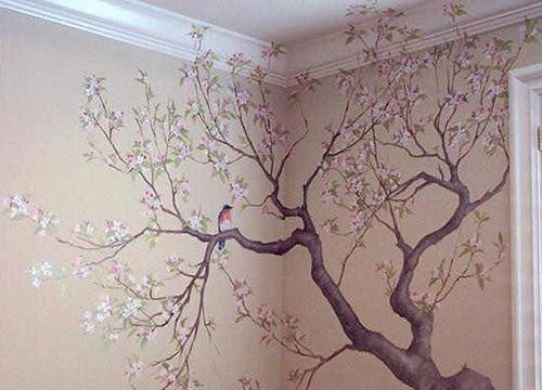 Картинки по запросу цветущая сакура рисунок на стене