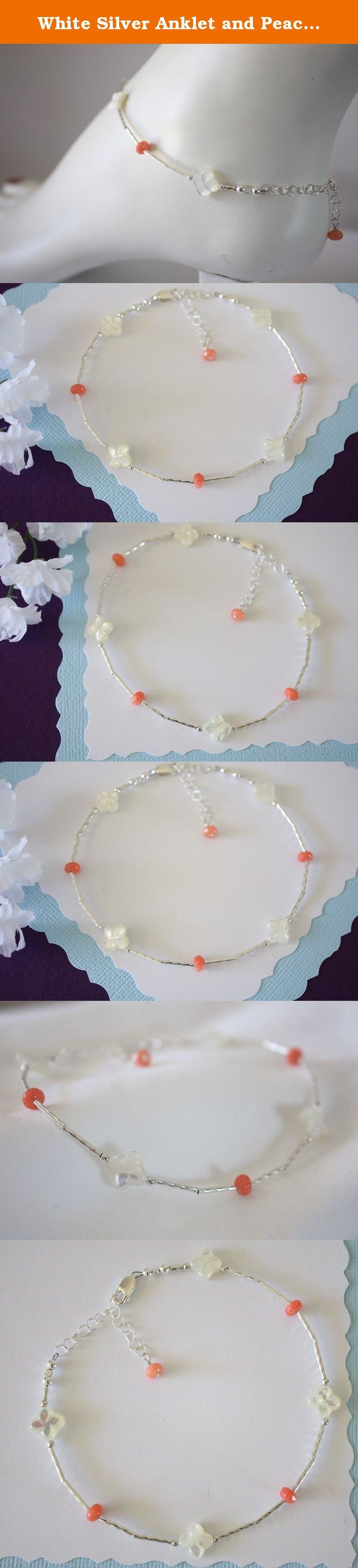 """White Silver Anklet and Peach Coral Anklet, Beach Wedding, Flower Bridesmaid Gift. This fun anklet is handmade with beautiful Faucet Peach Coral, hand carved Mother of Pearl flowers and Liquid Sterling Silver.*** Average length is 10"""" but choose your length upon checkout. Comes with organza gift pouch, ready for gift giving."""