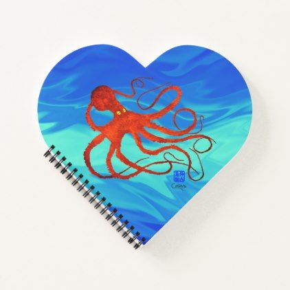Orange Octopus - Heart Shaped Notebook - valentines day gifts love couple diy personalize for her for him girlfriend boyfriend