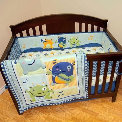 Patchwork Rock & Roll Monsters  Music Notes 4 Piece Baby Boys Crib Bedding Set