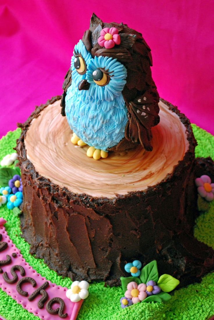 Owl Cake Owl is made out of two foam balls different sizes covered with sugarpaste. For the feathers i used rose leaves plunger cutter (...