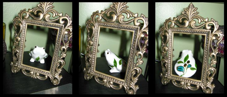 A cute frog and antique frame I picked up at a thrift store. Great decorating ideas.