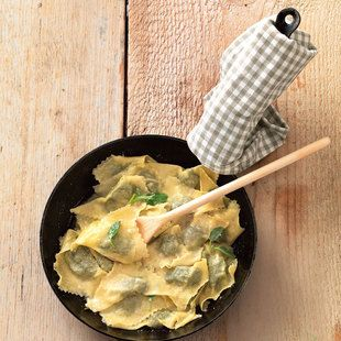 spinach and parsley ravioli with parmigiano-reggiano and sage