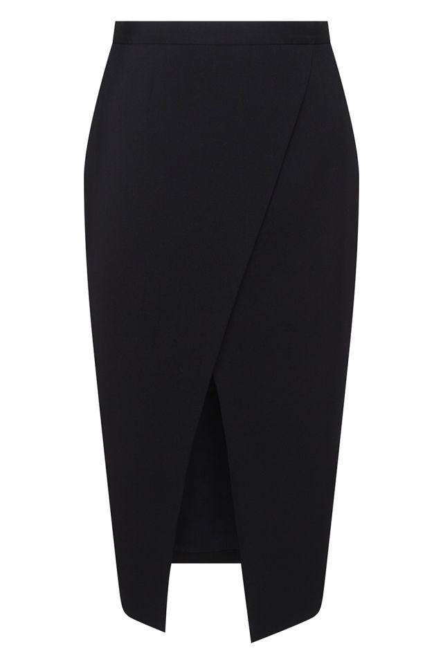 Шерстяная юбка Korsun - Юбка-карандаш черного цвета с вырезом на передней стороне в интернет-магазине модной дизайнерской и брендовой одежды