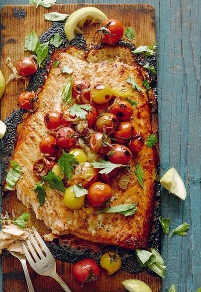 WHITE WINE-SOAKED CEDAR PLANK SALMON FILLET with PAN-BLISTERED CHERRY TOMATOES, SHALLOTS, GARLIC & HERBS [whatsgabycooking]
