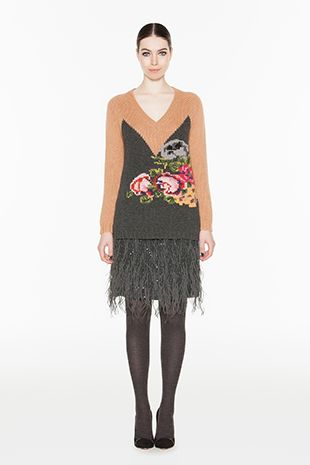 TWIN-SET Simona Barbieri :: FW14 :: Knitwear - Blouses :: Rose-embroidered Knit :: T3A4F7