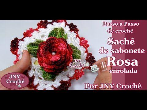 PAP Sachê de sabonete de crochê Rosa enrolada por JNY Crochê - YouTube