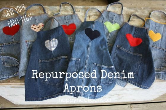 Repurposed Denim Apron Tutorial:  save the legs from your old jeans to make durable, stain-resistant craft aprons for your kids.  - Happy Hooligans