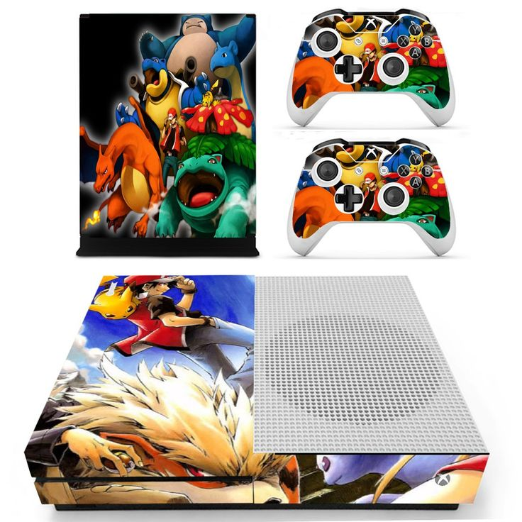Pokemon cards design skin decal for xbox one S console and 2 controllers