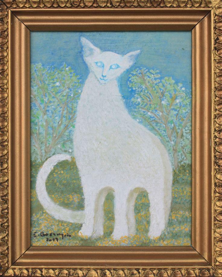 Obrazek olejny na płycie, w sprzedaży wraz ze złotą ramką (nieco mniej intensywna barwa ramki niż na zdjęciu).  Przedstawia mojego kota syjamskiego (rasa siamese white), w jakimś zakątku kociego nieba, do którego zawędrował rok temu w grudniu. Wymiary pracy w ramce i bez niej:  - szerokość 16 / 22 cm  - wysokość: 21 / 27 cm.  Ramka jest plastikowa, niepierwszej młodości. Posiada zawieszkę.