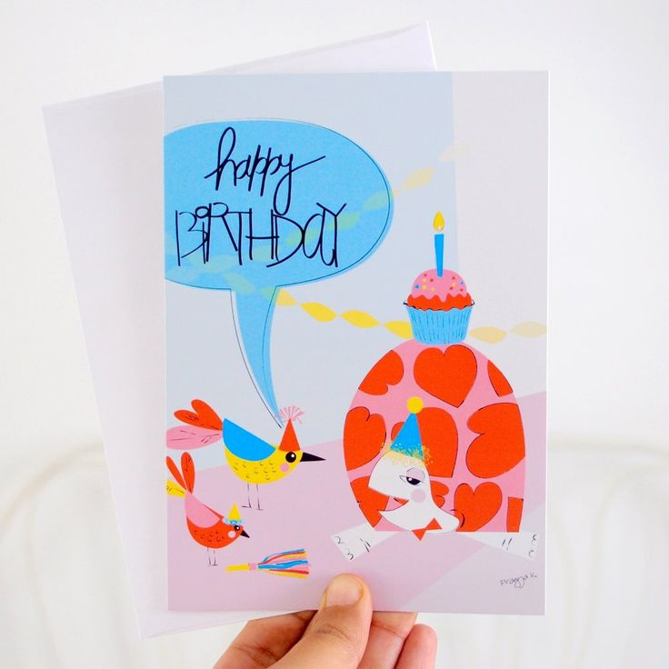 Turtle greeting card - birthday card - birthday cupcake - Happy Birthday Turtle by pragya kothari