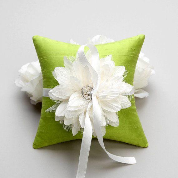 Wedding Ring Bearer Pillow, Bridal Ring Pillow, Flower ring pillow - Dahlia via Etsy