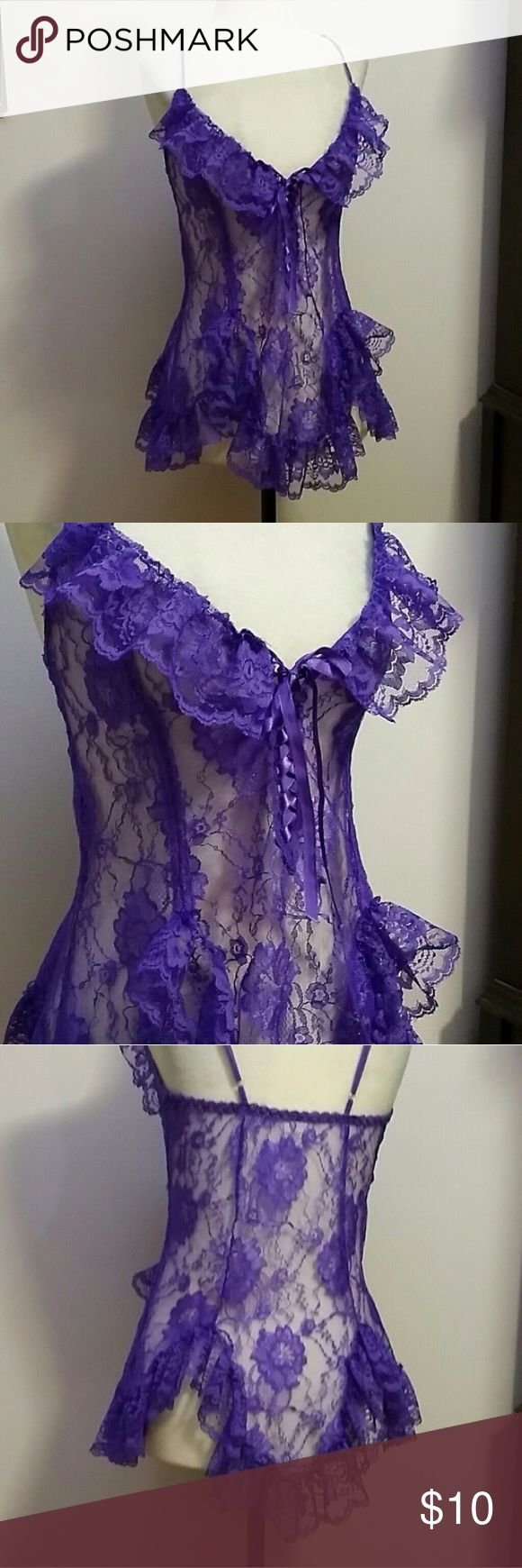 Frederick's Purple Lace Chemise Lingerie Dress Cute for a rave or festival event. From fredericks of hollywood only worn to try on. Size medium. Pretty purplish blue color. Frederick's of Hollywood Intimates & Sleepwear Chemises & Slips