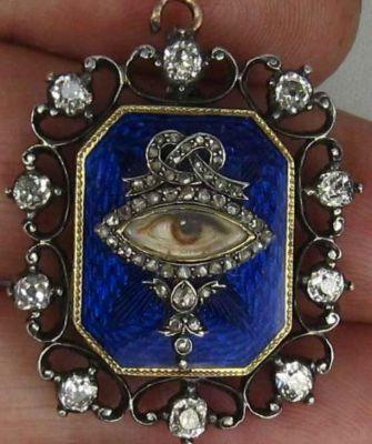 Late 18th-early 19th century, 18kt, diamond and enamel Georgian Eye Portrait Pendant