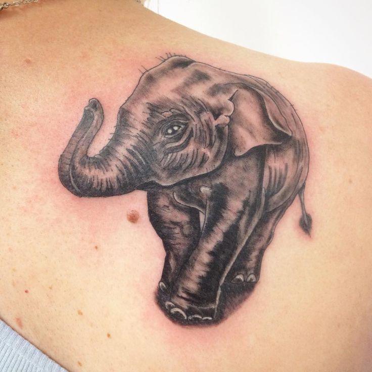 Baby Elephant Tattoo by Madlen Realistic, black&grey, animals