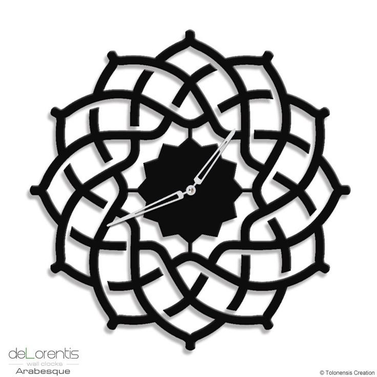 "Metal Wall clock ARABESQUE -  40 cm / 16"" -  Laser cutting design - © Tolonensis Creation"
