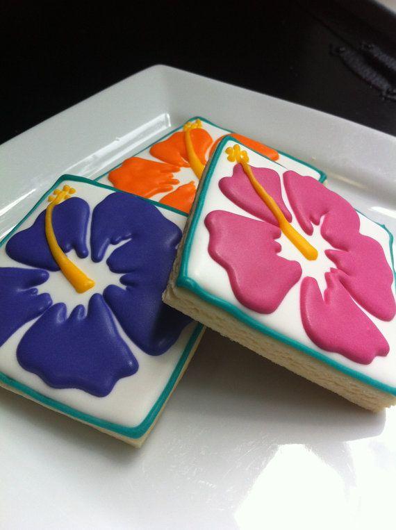 Hibiscus flower  luau cookies 1 dozen by thetalentedcookie on Etsy
