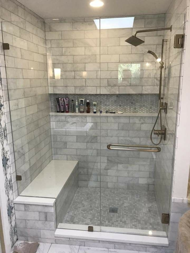 The Tile In This Shower Makes It Feel Elegant Without Being Over The Top Bathroomideas M Restroom Remodel Bathroom Remodel Pictures Bathroom Remodel Designs