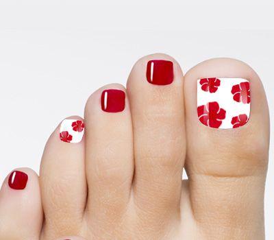red toenail art flower design